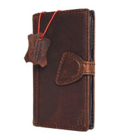 Genuine vintage leather Case for Samsung Galaxy S7 book wallet luxury magnet closure cover cards slots brown slim daviscase