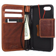 genuine italian oiled  leather slim case for iphone 7 cover book wallet credit card  luxurey flip slim magnetic