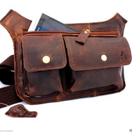 Genuine full Leather Shoulder wallet Bag man womens Waist Pouch cross body brown