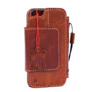 genuine vintage leather case for iphone 7 cover book wallet credit card Removable magnet Detachable pro flip magnetic close