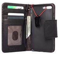 Genuine vintage Real  leather slim case for iphone 7 plus cover book wallet credit card  luxurey flip slim black magnetic RFID Pay lite
