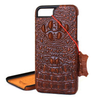 vintage genuine real leather Case for apple iphone 7 book wallet cover crocodile Design