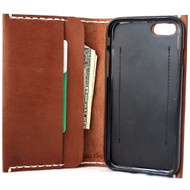genuine leather Case for apple iphone 7 book wallet cover slim brown cards slots Davis