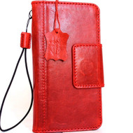 Genuine leather for samsung galaxy note 8 Case book wallet luxury natural magnetic red cover Daviscase Red  strap