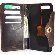 Copy of Genuine Leather Case for iPhone 8 Plus book wallet cover id window cards slots Slim vintage brown classic Daviscase
