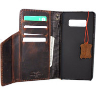Genuine vintage leather case for Samsung Galaxy Note 8 book wallet magnetic closure cover luxury cards slots classic dark Daviscase