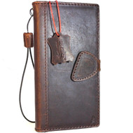 Genuine vintage leather case for Samsung Galaxy Note 8 book wallet magnetic closure cover stand luxury cards slots classic dark Daviscase