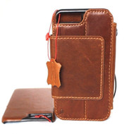 Genuine vintage leather slim case for iphone 8 plus  cover book wallet credit card Removable magnet Detachable pro flip magnetic close
