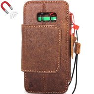 genuine real leather Case for Samsung Galaxy S8 Plus Magnetic holder Removable vintage light brown daviscase