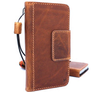 Genuine vintage leather for samsung galaxy s8 active Case book wallet magnet closure cover bright  brown cards slots handmade daviscase