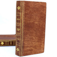 Genuine vintage leather case for iphone 8 book wallet cover bible credit cards id slots classic brown business slim daviscase