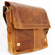 Genuine Vintage Leather men's Bag Messenger for iPad air Shoulder Satchel School brown Oiled Jafo