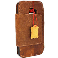 Genuine real leather Case for Samsung Galaxy S9 Plus Magnetic holder Removable vintage light brown daviscase emboss custom stamping