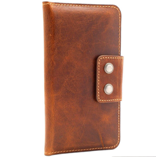 Genuine vintage leather case for samsung galaxy note 8 book s9 plus iphone 8 7 X wallet cover soft vintage slim daviscase luxury work QI wireless charging  Jafo