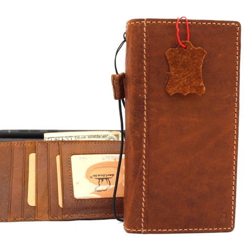 Genuine leather case for Samsung Galaxy Note 9 book wallet handmade cover slim vintage Tan brown cards slots Daviscase ready Wireless charging FR