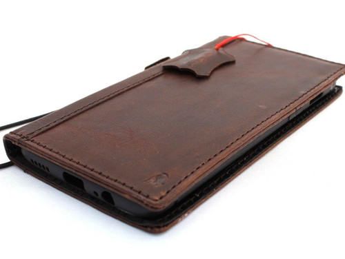 Genuine vintage leather case for oneplus 6 book wallet cover cards slots slim handmade Suede brown style daviscase sl