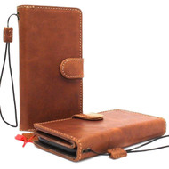Genuine real leather Case for Samsung Galaxy S9 Magnetic wallet holder Removable vintage light Tan brown daviscase
