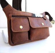 GENUINE LEATHER BAG Fanny Shoulder tablet Chest Sling Cross fit gps 7 5 4.3 case