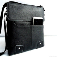 Genuine 100% full Leather Shoulder men Bag  black Cowhide hfor ebook tablet tab cross body