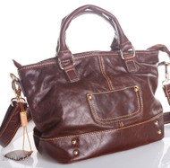 Genuine 100% leather woman bag design brown purse Vintage tote Handbag retro new