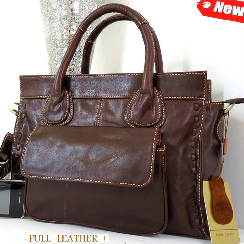 Genuine real soft leather woman bag brown purse Vintage tote lady retro russia