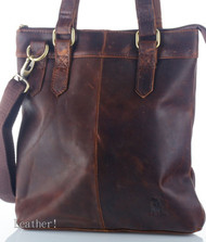 Genuine real leather woman man bag brown purse Vintage tote new retro top style