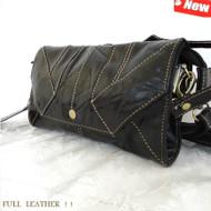 Genuine 100% leather woman purse tote Ladies wallet Clutch zipper card BLACK bag
