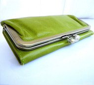Genuine 100% leather woman purse tote Ladies wallet Clutch zipper green