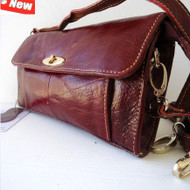 Genuine real leather woman purse tote Ladies wallet Clutch RED Wine bag Coins id