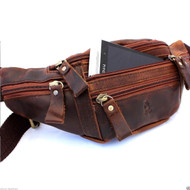 Genuine vintage Leather wallet Bag Waist Pouch backpack cellphone Purse Coin men sling backpack cellphone