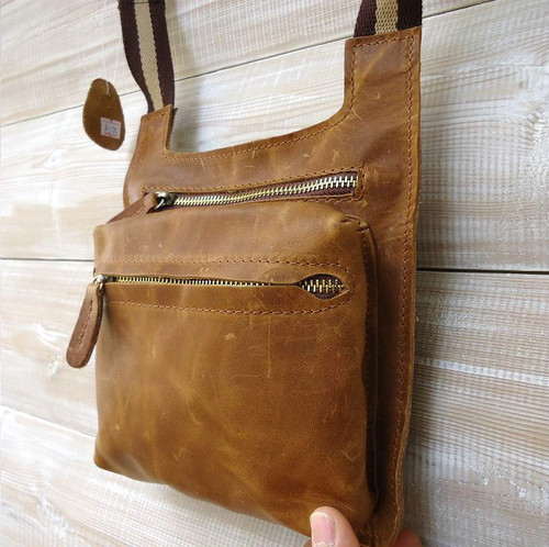 GENUINE full LEATHER BAG WALLET MEN PURSE WAIST style woman Messenger brown new