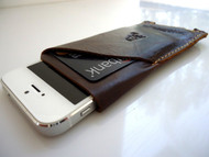 genuine soft leather handmade case fit iphone 5 cover slim purse RETRO style
