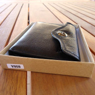 Men Money Clip BLACK Genuine REAL Leather Check wallet Bag Slim Trifold Clutch