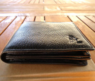 Genuine real leather man black wallet bag Coin Purse bifold Credit Card vintage