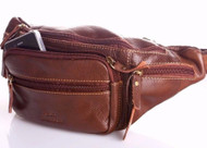 Genuine full Leather wallet Bag man zipper Waist Pouch backpack cellphone big id