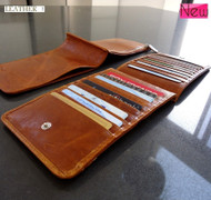 Men woman Money genuine leather Credit Card id Holder Wallet 18 slots handmade bag creditcard big brown