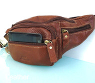 Genuine Leather Bag man Pouch Fanny Pack Accessories Phone Wallet Pocket Waist brown