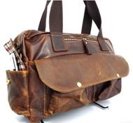 Genuine vintage Leather Shoulder handBag tote woman man laptop 14 style Crafts R