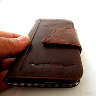 genuine real leather vintage Case for HTC ONE book wallet handmade m7 skin close