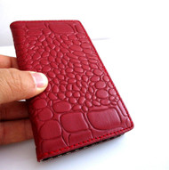genuine soft leather Case for Samsung Galaxy S4 s 4 book wallet handmade id red crocodile Model