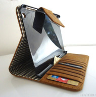 genuine full Leather Bag for iPad 4 3 2 case cover handbag apple stand magnet brown