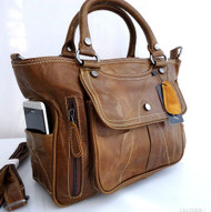 Genuine 100% leather woman bag brown purse tote lady retro Vintage style 14 russia
