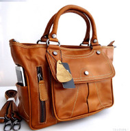 Genuine real leather woman bag brown purse tote lady retro Vintage retro style