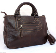 Genuine 100% leather woman bag brown purse tote hobo HANDBAG vintage france