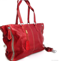 Genuine real leather woman bag brown purse tote lady retro Vintage retro large red