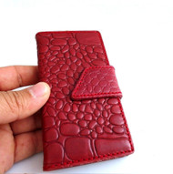 genuine leather Case For Samsung Galaxy Note 3 book wallet handmade brown new red wine