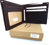Men Money Clip Genuine vintage Leather wallet Bag Coins creditcards ID retro brown