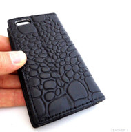 genuine 100% leather case for iphone 4s cover purse s 4 book wallet crocodile Design