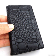 genuine real leather Case for Samsung Galaxy S4 s 4 book wallet handmade skin uk black