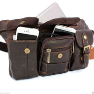 Genuine full Leather wallet Bag man zipper Waist Pouch sling backpack cellphone uk